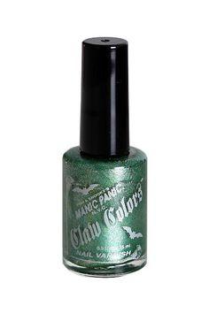 """Smalto per unghie con glitter """"Green Envy"""" di Manic Panic, 15 ml. Formula ecologica che non danneggia l'ambiente. Senza ftalato, toluene e formaldeide. Testo sulle celebrità, non sugli animali."""