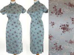 Vintage 50s Dress 1950s Silk Cheongsam Dress 50s Cocktail