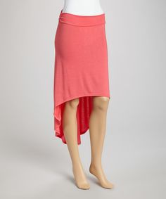 Take a look at this Coral Ruffle Hi-Low Skirt on zulily today!