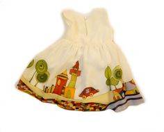White silk dress hand painted for kids. Fairy tale silk dress.Ready to ship.