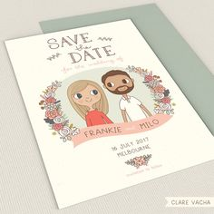 Custom Save the Date | Couple Portrait Illustration 5x7 or A5