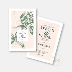 Printable Wedding Invitations / Digital Invitations / Protea Wedding Invite / Evelyn Suite Printable Wedding Invitations, Digital Invitations, Protea Wedding, Wishing Well, Save The Date Cards, Thank You Cards, Signage, Rsvp, Invite