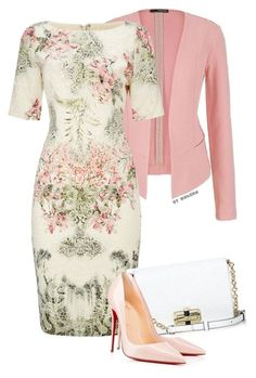 Untitled by modestsisterz featuring Adrianna Papell, Christian Louboutin, Diane Von Furstenberg, maurices and clothing Work Fashion, Modest Fashion, Fashion Dresses, Fashion Clothes, Mode Outfits, Dress Outfits, Dress Up, Dress With Jacket, Dress With Blazer