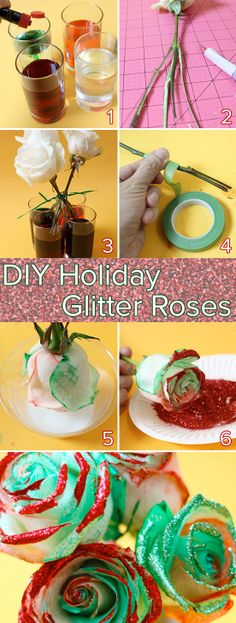 Absolutely stunning! #DIY Holiday glitter roses! All you need is dye, glue and glitter!