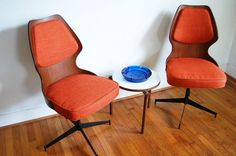 Bentwood Swivel Chairs Mid Century Modern Orange by ljindustries, $400.00