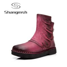 cc5e7a6398d196 flat boots Picture - More Detailed Picture about Tastabo Martin boots  leather shoes folk style retro flat boots Warm Velvet women original casual  shoe ...