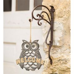 Cast Iron Owl Welcome Sign in Owls