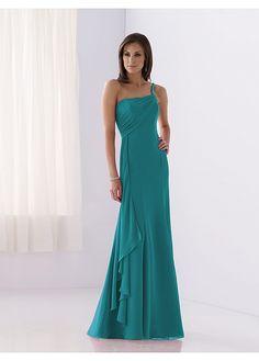 Stunning chiffon Sheath One Shoulder Long Bridesmaid Dress (in tiffany/aqua blue)