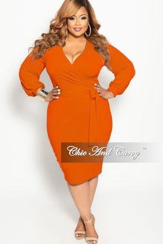 ae0f4eeb1a4 New Plus Size Long Sleeve Faux Wrap BodyCon Dress with Attached Tie in –  Chic And