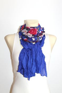 Blue Floral Scarf - Viscose Boho Scarf - Printed Fabric Scarf - Open Ended Scarf - Women Fashion Accessories - Unique Gift Ideas for Her