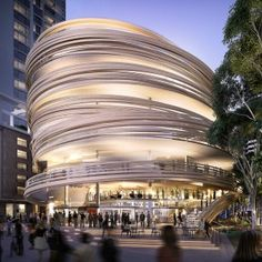 Kengo+Kuma+reveals+plans+for+curving+timber-wrapped+tower+in+Sydney's+Darling+Harbour