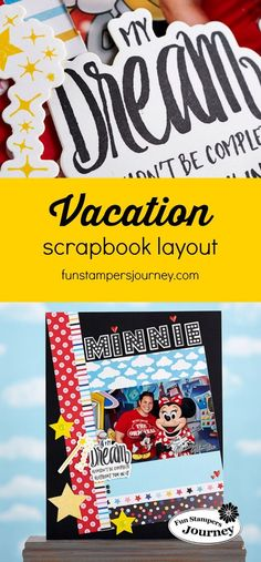 disney themed vacation scrapbooking layout featuring fun stampers journey magical journey collection #vacationscrapbook