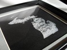 Michigan Map Lino Print  Hand Printed Edition by ScreenPrintArts, $40.00