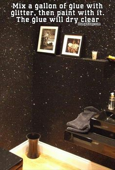 Glitter wall.  Add some sparkle to your ceiling? #glitterpaint #treatmentroom #BlackGlitter