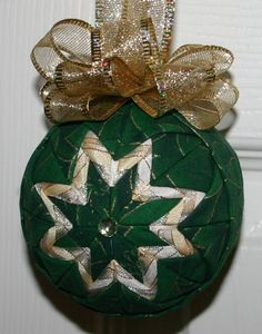 Green N Gold Poinsetta Christmas Fabric Quilted by WreathsByKari, $10.00