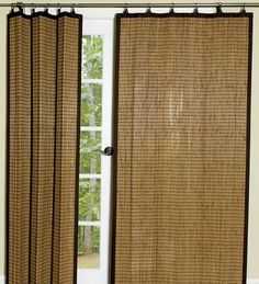 "Easy Glide Bamboo Panel, Size 84""L, in Tan by Plow & Hearth®. $59.95. Our 84""L Easy Glide Bamboo Curtains are attractive and functional. With a patented easy-glide system and ring-tab tops, the panels lay smooth and flat when extended, then ""fold"" in neat pleats when you want to let light shine in. Coordinating cotton banding on all four sides. Imported. ? Bamboo curtains with easy-glide, lay-flat design? Eco-friendly bamboo is durable and attractive? Panels lay smooth and f..."