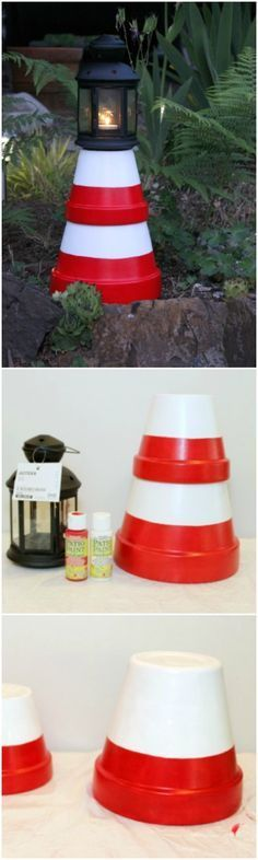amazing Diy: Cute Clay Pot Lighthouses  #DIY #Miniature #Outdoor #Patio #Pots #Repurposed If you miss your seaside holidays, here is an easy way to make a lighthouse in your garden, these cute yard decorations are cheap and easy to make!