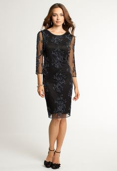 Short Beaded Dress with Three Quarter Sleeves from Camille La Vie and Group USA