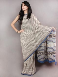 Ivory Black Blue Hand Block Printed in Natural Colors Cotton Mul Saree - S03170803
