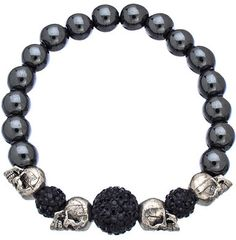Very Me Jet Black Silver Skull Bracelet on shopstyle.com
