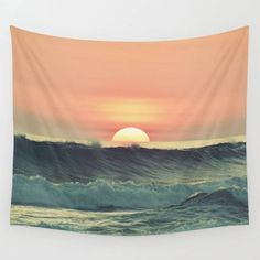 Decorate your wall with this beautiful and popular wall tapestry by Okopipi Design. Ocean sunset Wall tapestries that feature the original graphics by Emese Horvath aka. Okopipi Design. Trying to bring nature inspired designs into your homes with beautiful home decor. - available three sizes Photo Tapestry, Tapestry Nature, Ocean Sunset, Ocean Art, Tapestry Bedroom, Wall Tapestry, Photo Wall Decor, Small Bedroom Designs, Thing 1