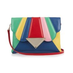 Sara Battaglia Bess rainbow leather clutch (27.350 RUB) ❤ liked on Polyvore featuring bags, handbags, clutches, accessories, multi, blue leather handbags, ruffle purse, special occasion clutches, blue clutches and special occasion handbags