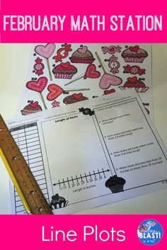 February Valentine math station for 3.MD.B.4 Measure to the nearest quarter inch and create a line plot using the data. Different themes to keep line plots fresh all  year.