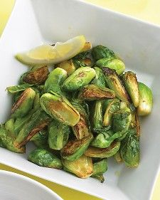 In a large nonstick skillet, heat oil over medium-high, add brussels sprouts and 2 tablespoons water; season with salt and pepper. Cook, stirring occasionally, until crisp-tender, 8 to 10 minutes. Remove from heat, and stir in lemon juice