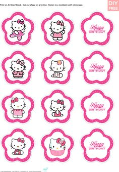 JUSTLOVEDESIGN — DIY FREE Hello Kitty Cupcake Toppers - Download...