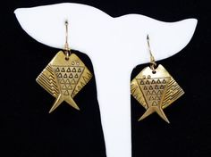 New Listings Daily - Follow Us for UpDates -  Description or Style:   Mod Art Fish Earrings Dangling from Wire Hooks for Pierced Ears in Laurel Burch Style Designed - 1990's Unsigned Gold Tone Earrings offered by TheJe... #vintage #jewelry #teamlove #etsyretwt #ecochic #thejewelseeker ➡️ http://etsy.me/2k4I6ie