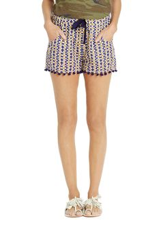 East African textiles, these pom-pom fringed shorts have a easy fluid, style that's both comfortable and chic. Hippie Chic Fashion, Short Fringe, African Textiles, Designing Women, Bohemian Style, Shorts, Easy, Blue, Short Shorts