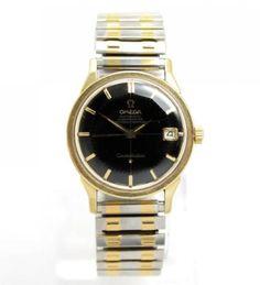 Vintage-20c-Omega-Constellation-24J-Automatic-Black-Pie-Pan-Dial-Mens-Wristwatch