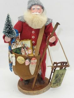 Norma Decamp Santa With Sled Original Signed