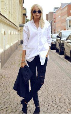The white shirt and skinnies