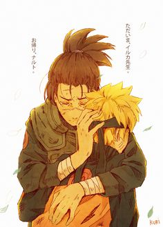 Iruka and Naruto I'm happy naruto found that one person who accepted before most... I mean Iruka's parents were killed by the nine tails but he looked past that (after a while) and saw that Naruto is more then the nine tails holder but that he's Naruto Uzumaki!!!