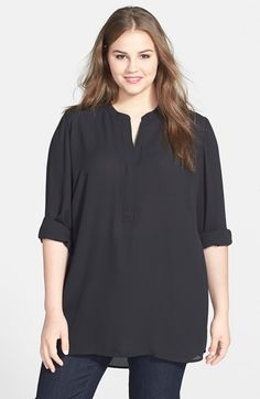 Sejour Front Zip Crepe Tunic Top