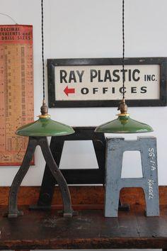 Pair of Green Vintage Industrial Porcelain Enamel Pendant Lights by DorsetFinds