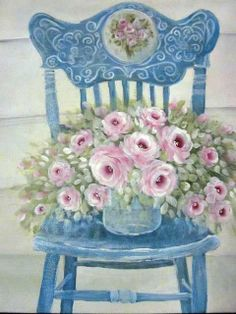 Art by Stella Bruwer fancy blue wood chair with pink ranunculus Chair Drawing, Painting & Drawing, Flowers Background, Stella Art, Flowers Illustration, Cottage Art, Cottage Style, Decoupage Paper, Vintage Flowers