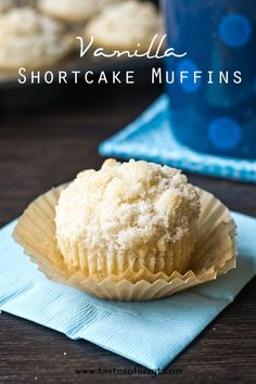 Vanilla Shortcake Muffins {Tastes of Lizzy T} Simple vanilla muffins with an incredible streusel topping.