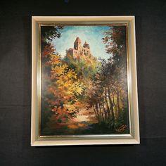 Burg BERWARTSTEIN  altes Ölgemälde aus der Pfalz. Signiert WENZEL TOP Zust.