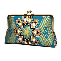 Teal and Gold African print Super Snap clutch by Urbanknit. Made in a cotton print fabric from Nigeria known as 'Ankara'.