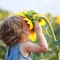 Sunflower and child