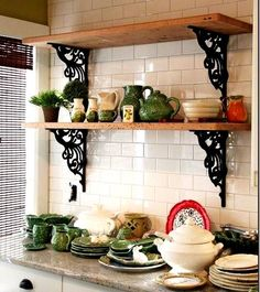 🔄❤️ ¿Rustic kitchen cabinets are sometimes not made from metal. Also, kitchen. 🔄❤️ Rustic kitchen cabinets are sometimes not made from metal. Also, it's great to have precisely what you want in your kitchen. Rustic Shelves, Wood Shelves, Open Shelves, Country Shelves, Shelving Decor, Shelving Ideas, Rustic Kitchen, Diy Kitchen, Kitchen Modern