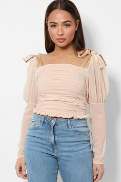 Nude Chiffon Square Neck Bow Sleeves Multiwear Blouse – SinglePrice