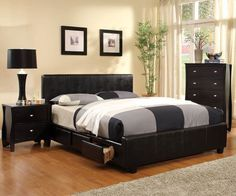 NEW ESPRESSO URBAN STYLE FULL QUEEN CAL KING PLATFORM BED w/ 6 DRAWERS #107009