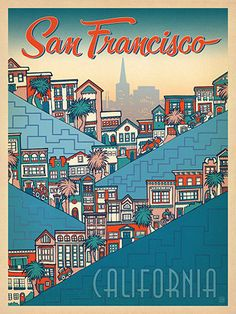 San Francisco Hills Holly Carden Vintage Advertisement Wrapped on Canvas Americanflat Size: 30 cm H x 20 cm W