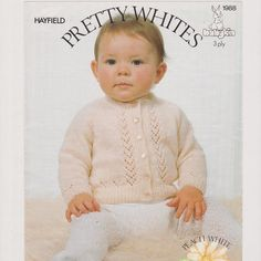 Vintage 1980s Knitting Pattern by Hayfield for 3 ply wool.  This knitting pattern includes instructions for a Babys Cardigan.  Please see the third photo for sizes and quantities of wool required. All sizes listed in that photo are included in this pattern  This is a download pattern, not the finished article.  -------------oo0oo-----------------  The file will be available for instant download - you dont need to wait for me to send it to you! Need help? Take a look here for some directions…