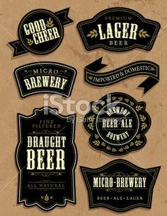 Set of vintage retro beer labels Royalty Free Stock Vector Art Illustration