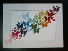 Fiona's Crafting: Stampin Up! Butterfly Rainbow Today I made this picture. It used all the Stampin Up! colours from the Subtle, Brights and Regals collections. The butterflies were cut using the Stampin Up! Hobbies And Crafts, Diy And Crafts, Arts And Crafts, Paper Crafts, Paint Chip Art, Paint Chips, Butterfly Crafts, Butterfly Art, Rainbow Butterfly