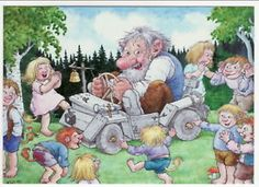 Norway Troll Kids Laugh at Wooden Car Art postcard Illustrator, Creation Photo, Elves And Fairies, Kids Laughing, Scandinavian Art, Animation, Colouring Pages, Beautiful Paintings, Faeries